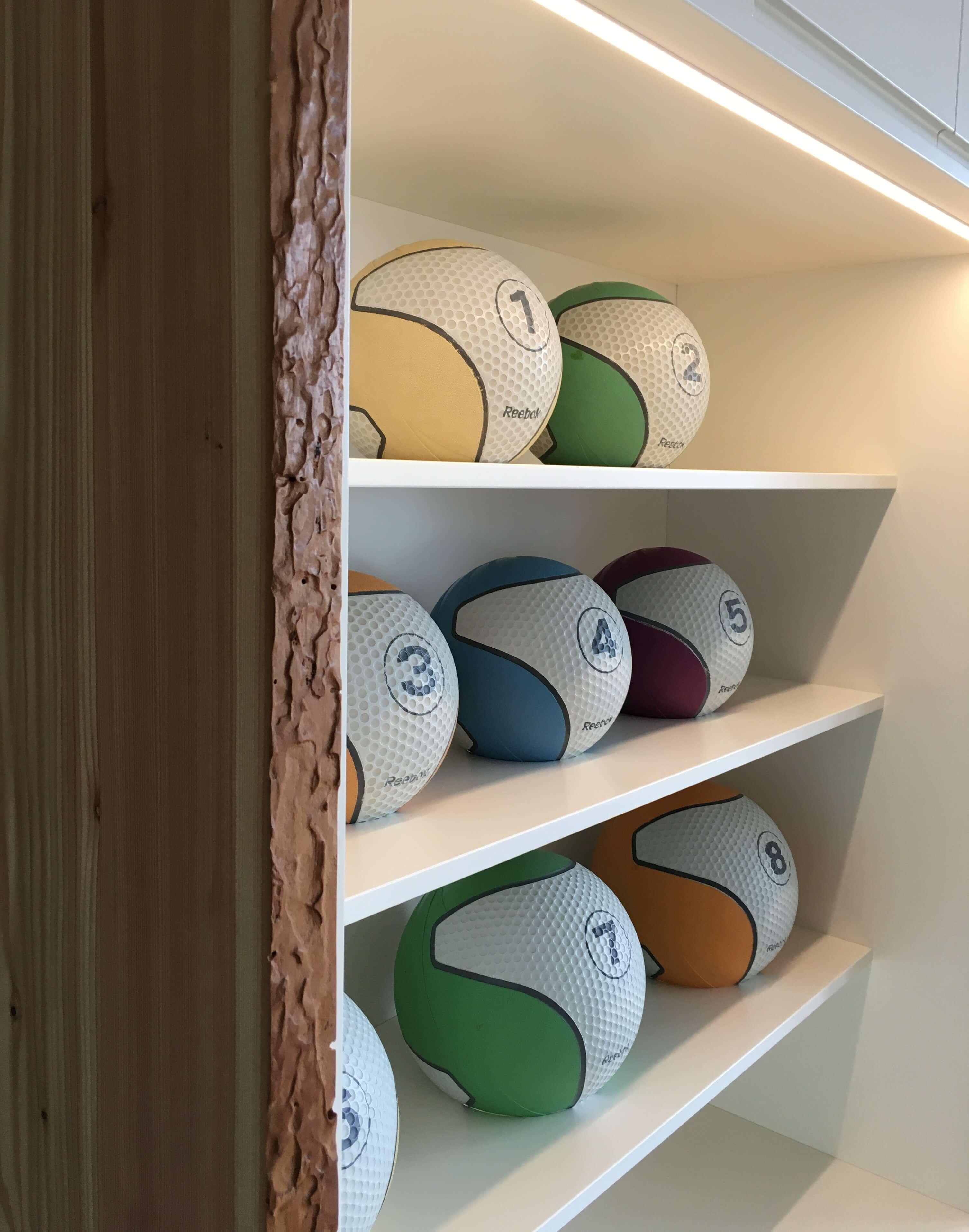 Ballschrank weiß lackiert eingefasst mit Lärche Massivholz