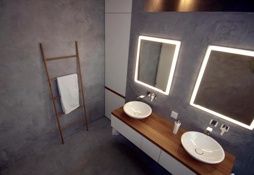 badm bel wei matt mit eiche massivholz gerber. Black Bedroom Furniture Sets. Home Design Ideas